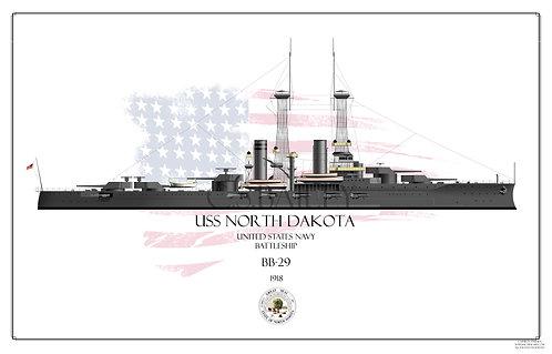 USS North Dakota BB-29 WL Print