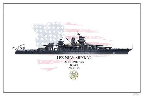 USS New Mexico 1941 WL print