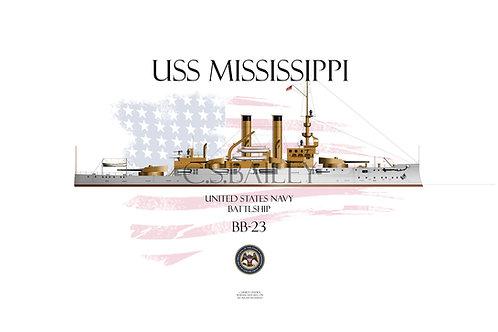 USS Mississippi BB-23 WL T-shirt