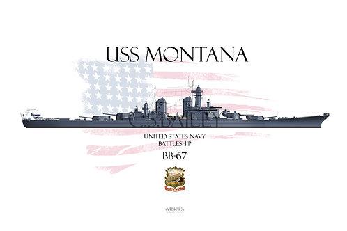 USS Montana BB-67 Late MS-21 T-shirt