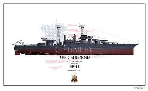 USS California BB-44 1941 FH Print
