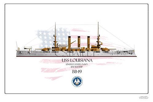 USS Louisiana BB-19 WL Print
