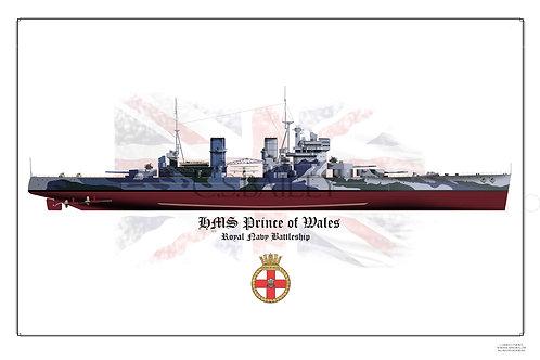 HMS Prince of Wales Full hull print