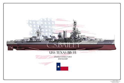 USS Texas Dazzle FH BB-35 Print
