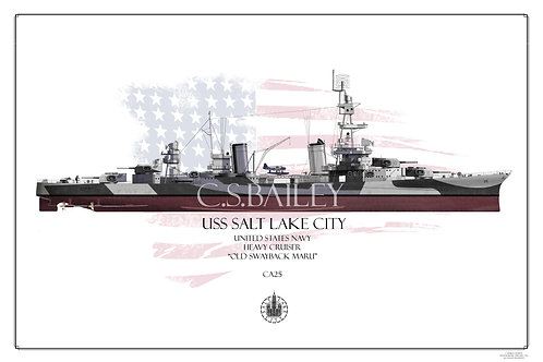 USS Salt Lake City CA-25 Dazzle FH Print