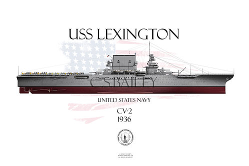 USS Lexington CV-2 1936 FH t-shirt
