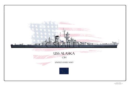 USS Alaska MS 22 WL Print