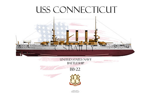 USS Connecticut BB-18 FH T-shirt