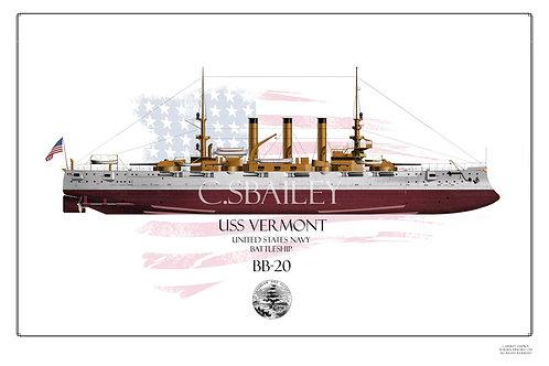 USS Vermont BB-20 FH Print