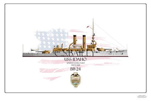 USS Idaho BB-24 WL print