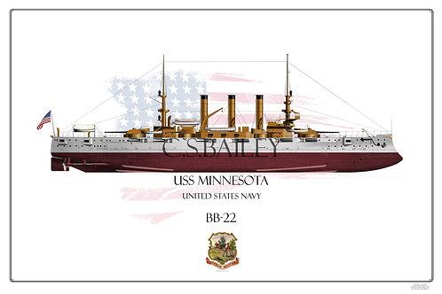 USS Minnesota BB-22 FH Print