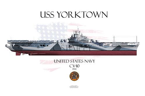 USS Yorktown CV-10 FH t-shirt