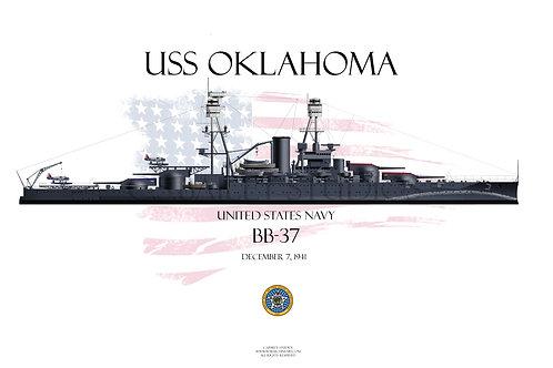 USS Oklahoma BB-37 WL T-shirt
