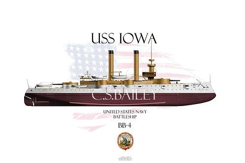 USS Iowa BB-4 FH T-shirt