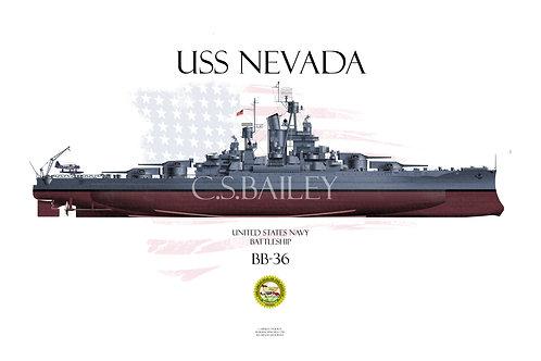 USS Nevada MS-21 FH Print