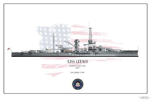 USS Utah BB-31 20's early 30's WL Print