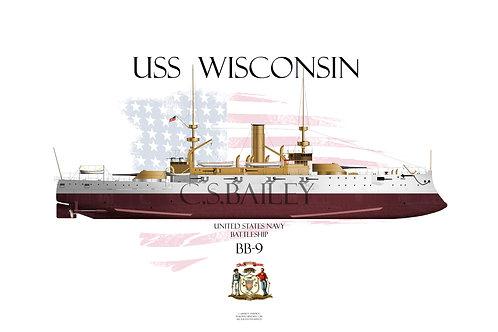 USS Wisconsin BB-9 FH T-shirt
