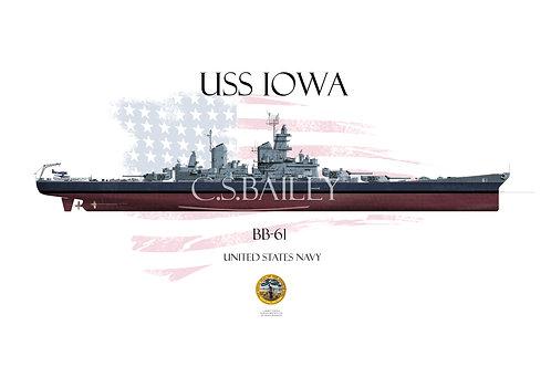 USS Iowa BB-61 MS22 FH T-shirt