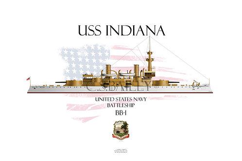 USS Indiana BB-1 WL T-shirt