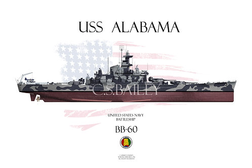USS Alabama BB-60 FH t/s