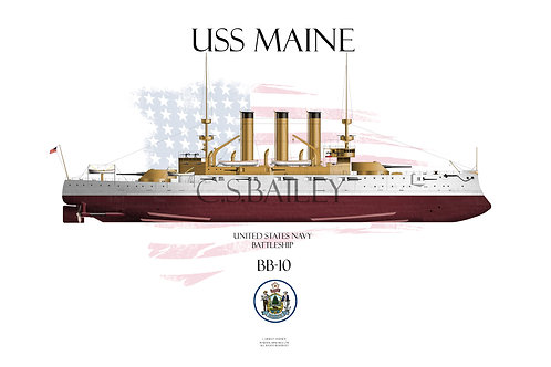 USS Maine BB-10 FH T-shirt