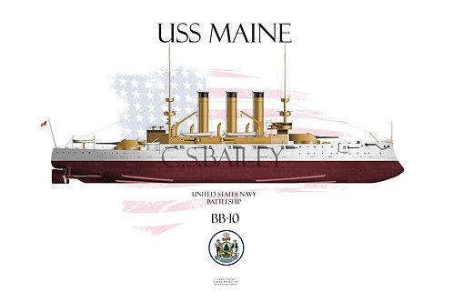 USS Maine BB-10 FH T-shirt