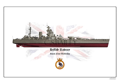 HMS  Rodney FH Print