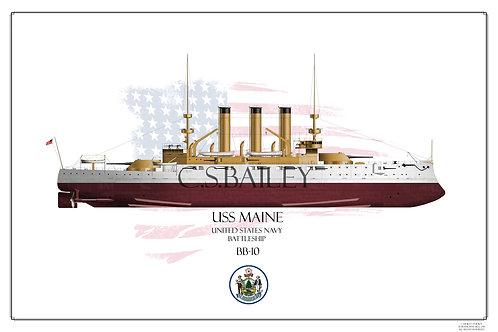 USS Maine BB10 FH Print