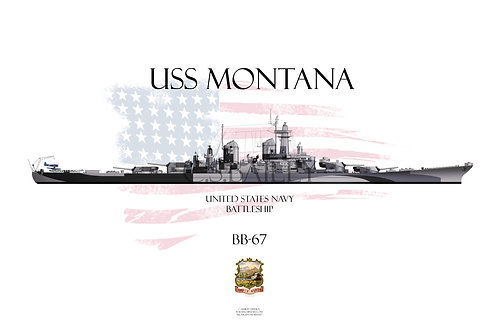 USS Montana BB-67 Early Dazzle T-shirt