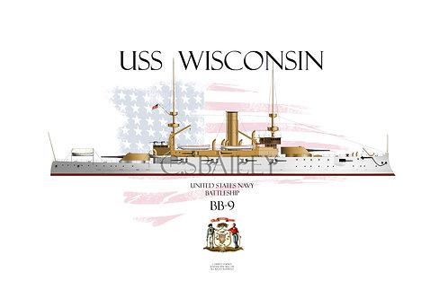 USS Wisconsin BB-9 WL T-shirt