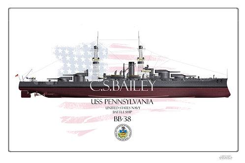 USS Pennslyvania BB-38 1918 FH Print