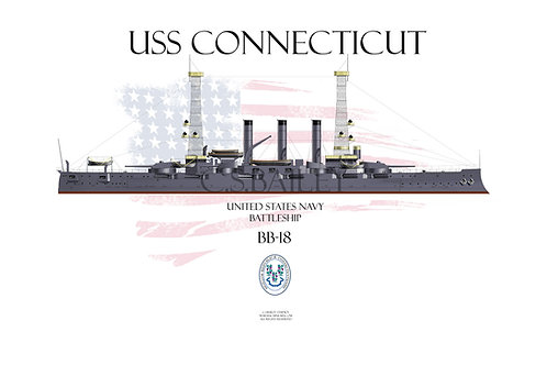 USS Connecticut BB-18  1918 WL T-shirt