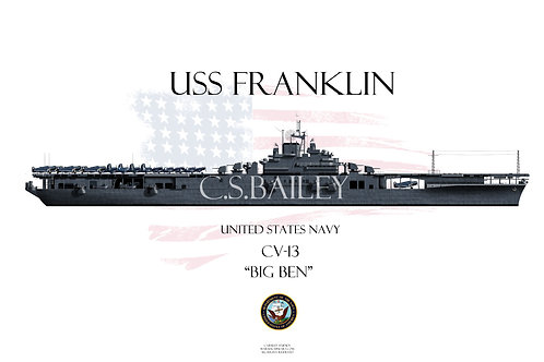 USS Franklin CV-13 MS-21 WL t-shirt