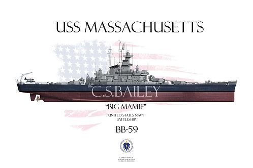 USS Massachusetts BB-59 FH t/s