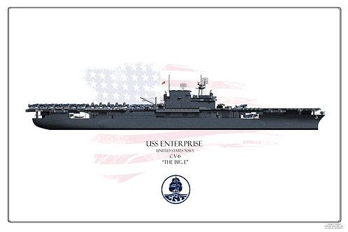USS Enterprise CV-6 WL Ms21 Print