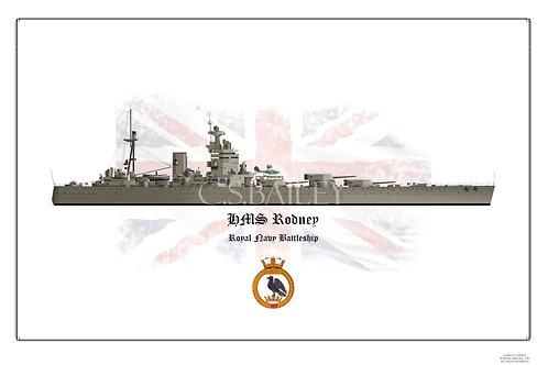 HMS  Rodney WL Print
