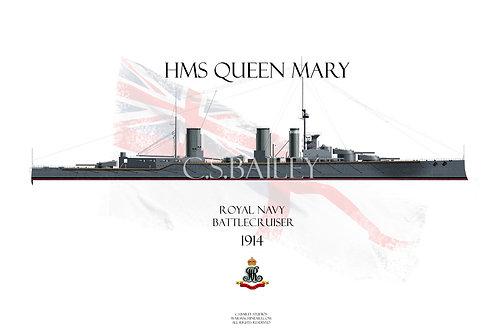 HMS Queen Mary 1914 WL t-shirt