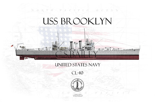 USS Brooklyn CL-40 FH T-shirt