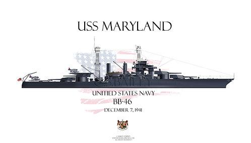 USS Maryland  BB-46 t-shirt