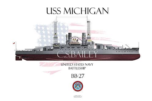 USS Michigan  BB-27 FH t-shirt
