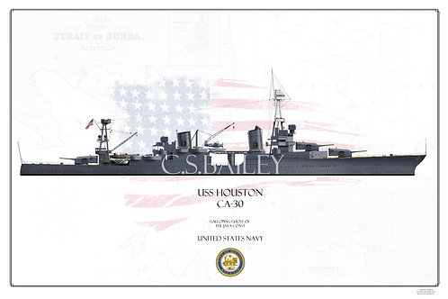 USS Houston CA-30 MS 1 WL Print