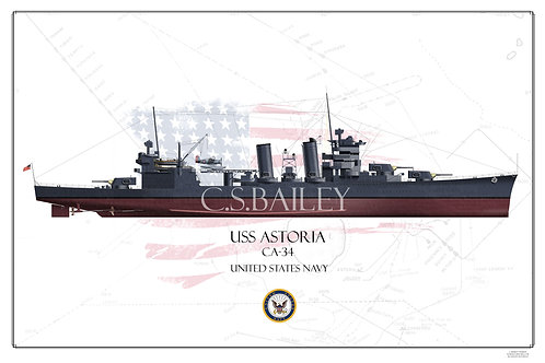 USS Astoria CA-34 FH Print