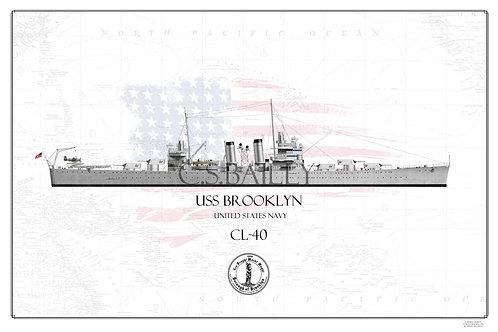 USS Brooklyn CL-40 WL Print