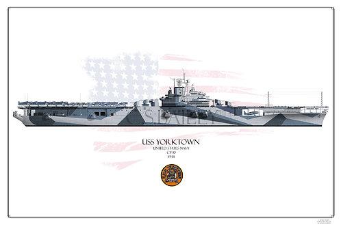 USS Yorktown CV-10 W/L Print