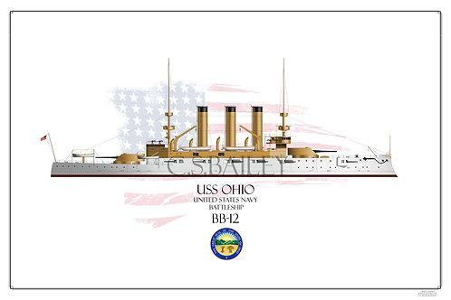 USS Ohio BB-12 WL Print