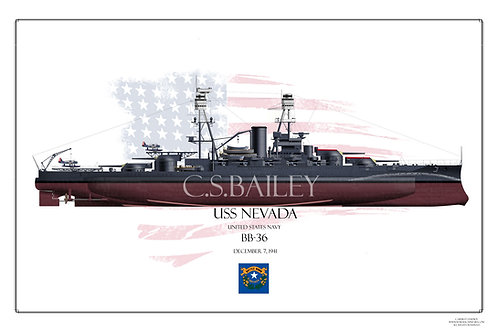 USS Nevada 1941 FH Print
