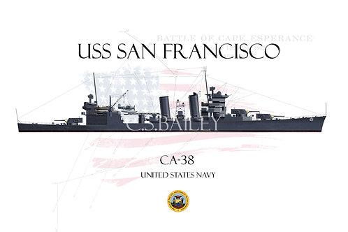 USS San Francisco CA-38 WL T-shirt