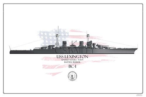 USS Lexington CC-1 1923 Print