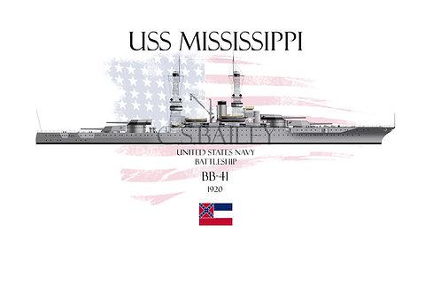 USS Mississippi BB-41WL T-shirt