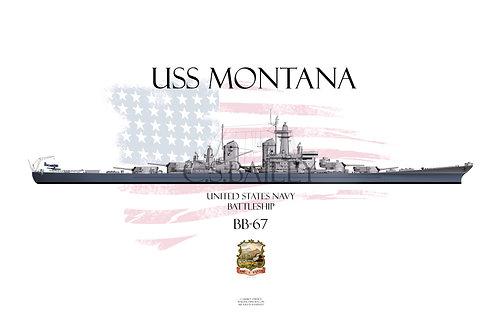USS Montana BB-67 Late MS-22 T-shirt